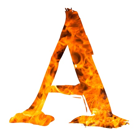 english textures: the letter A caught on blazing fire Stock Photo