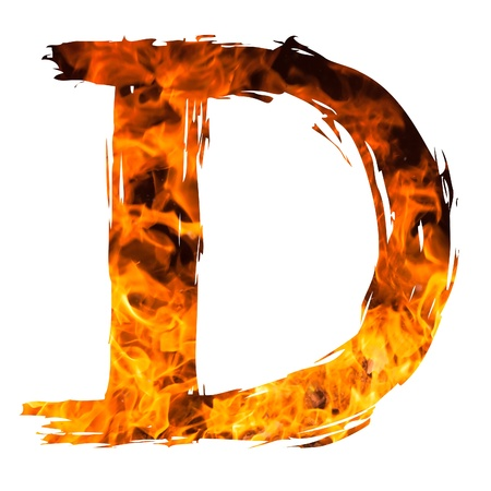 english textures: the letter D caught on blazing fire