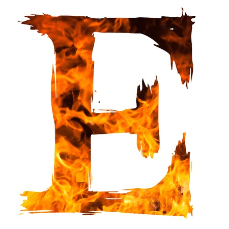 ardent: the letter E caught on blazing fire