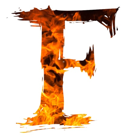 fire font: the letter F caught on blazing fire Stock Photo