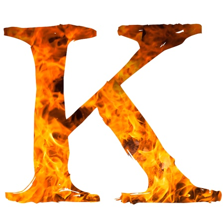 english textures: the letter K caught on blazing fire Stock Photo