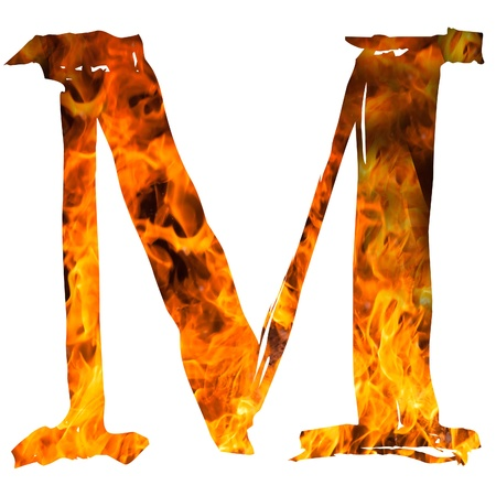 english textures: the letter M caught on blazing fire Stock Photo