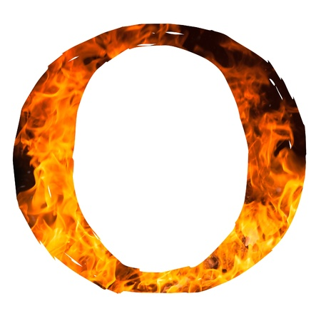 english textures: the letter O caught on blazing fire