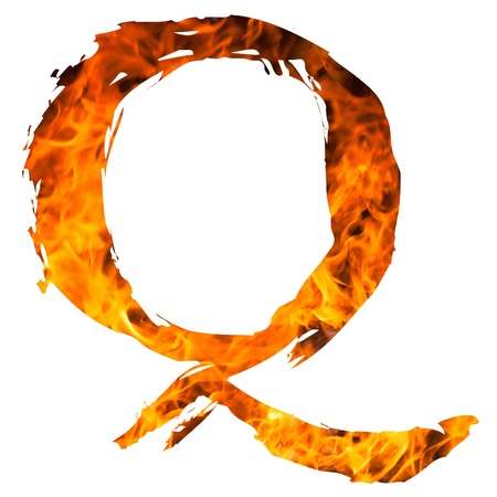 english textures: the letter Q caught on blazing fire