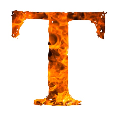 english textures: the letter T caught on blazing fire