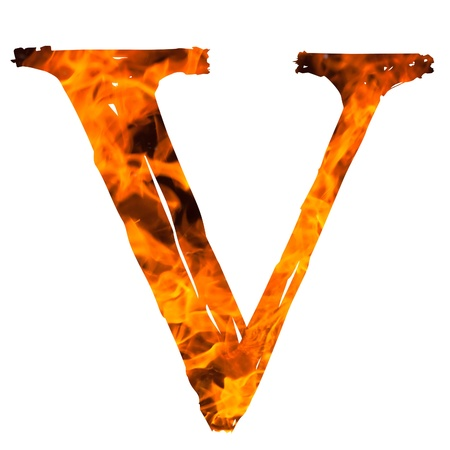english textures: the letter V caught on blazing fire