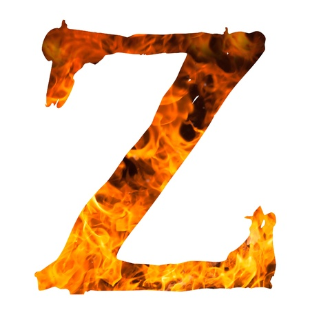 the letter Z caught on blazing fire