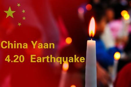 Pri�re pour la Chine Sichuan Yaan s�isme de magnitude 7 morts dans 20 Avril, 2013 photo