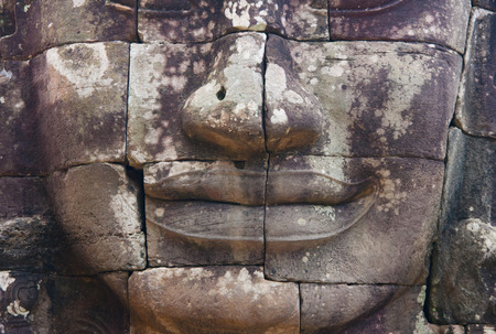 cambodge: bayon stone faces of the people ,siem reap ,Cambodia Stock Photo