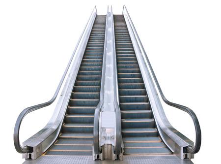 conveyor rail: An escalator isolated on white