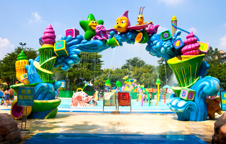 to chime: visitors in the chimelong water park,Chimelong Waterpark is the largest waterpark in the world.China Editorial