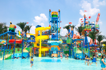 isitors in the chimelong water park .Chimelong Waterpark is the largest waterpark in the world.Guangzhou China
