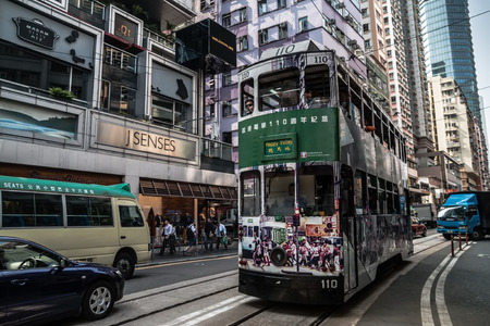 city ??tram in Hong Kong, tram is the only system in the world run with double deckers and one of the main tourist attractions. Editorial