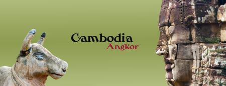 cambodge: Iconic stone statue, Angkor, siem reap, Cambodia,