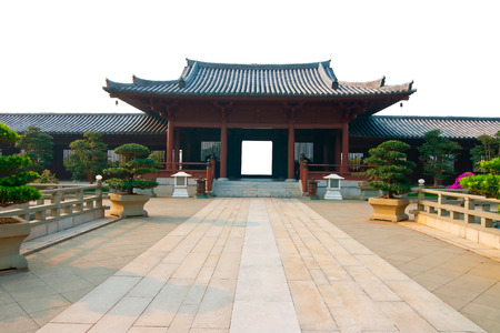 Ancient Chinese architecture on a white background Editorial