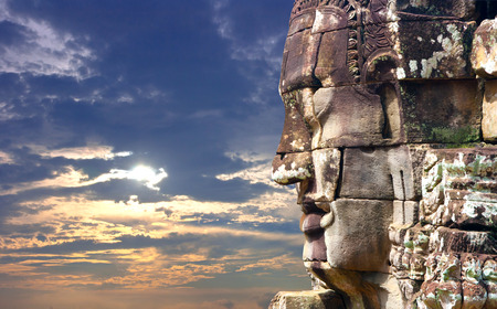cambodge: people face of stone in Cambodia Stock Photo