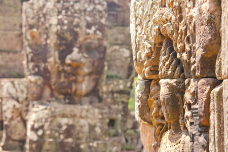 cambodge: people face of stone in Cambodia Stock Photo