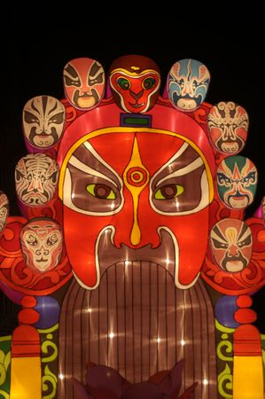 characterization: A sinosauruss colored lantern at Chinese Spring Festival, literary characterization similar to the types of facial makeup in Chinese operas