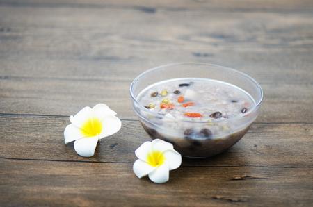 chinese yam: Porridge with flowers Stock Photo