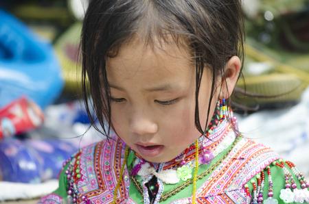 miao: Miao ethnic little girl,  Yunnan, Jin Ping Editorial