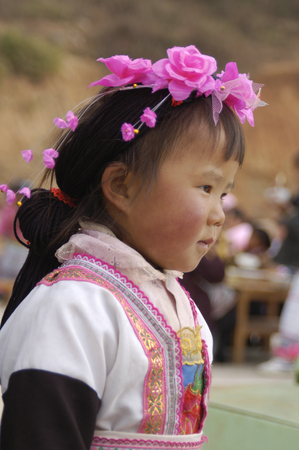 Miao ethnic little girl, China, Kunming