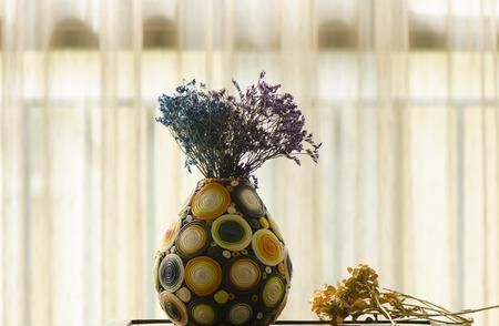 dried flower arrangement: Pottery vase Editorial