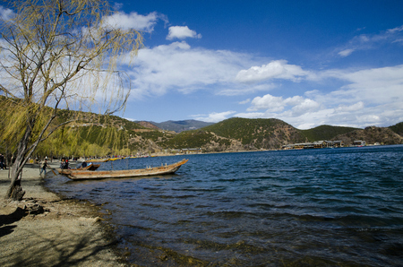 Rigby Peninsula, Lugu Lake Stock Photo