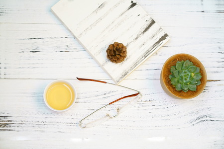 The table with a potted succulents, book and cup