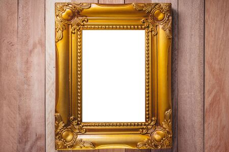 Top view of  Business frame picture working design on wooden background, Wooden vintage frame isolated on wooden background