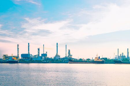 Oil refinery or petrochemical industry with ship in thailand. for Logistic Import Export background.