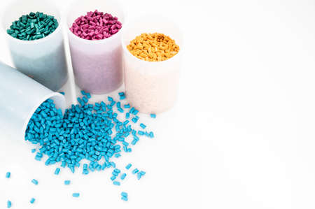 Plastic granules close up for holding,Colorful Plastic granules with white background.