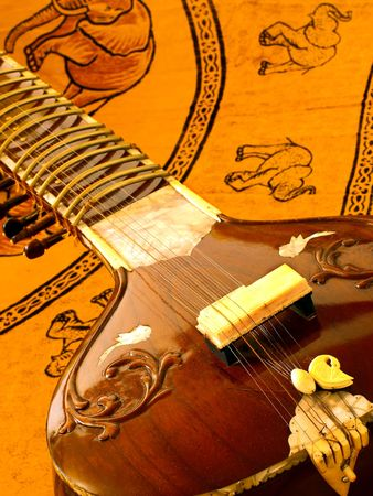 close up of an Indian instrument sitar
