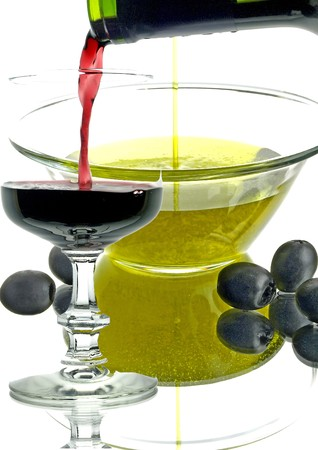 olive oil and red wine  photo