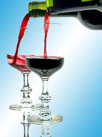 mediterrean: red and rose wine with glasses