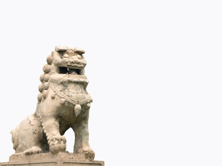 positiv: chinese lion to protect a temple Stock Photo