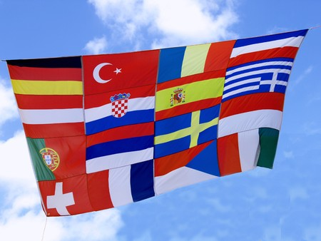 unify: a collection Flagg of  European countries Stock Photo