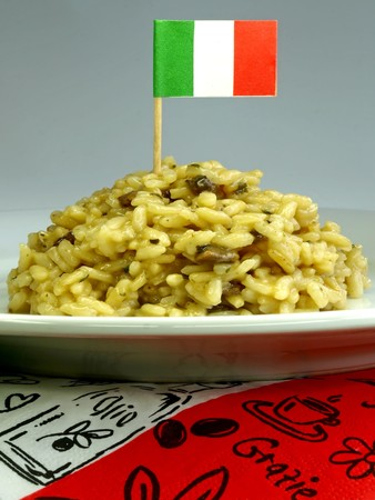 mediterrean: risotto with mushroom and a flag of Italy