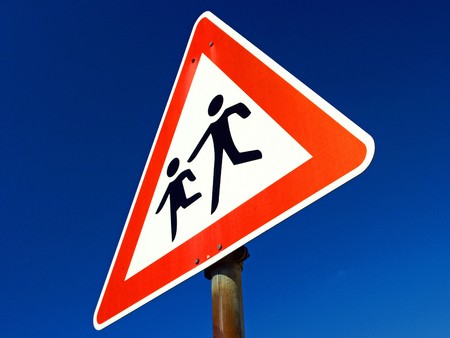 traffic sign with attention children Banco de Imagens