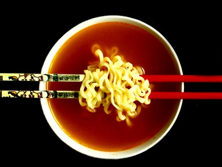 chinese noodle: chinese noodle soup with chopsticks