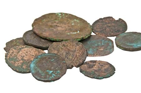 antieke munten van de Romein Stockfoto