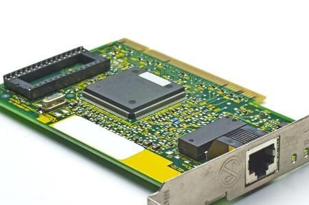isdn: circuit board of an isdn internet card Stock Photo