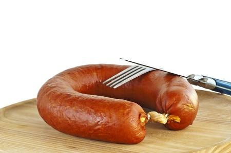 smoked spicy Polish sausage Kielbasa Stock Photo - 10347447