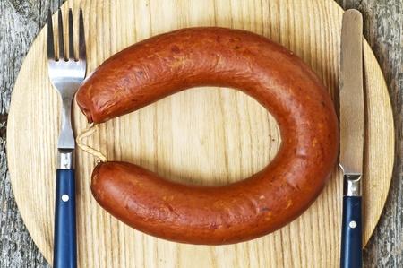 smoked spicy Polish sausage Kielbasa Stock Photo