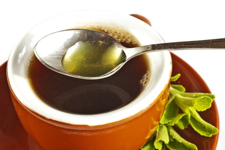 extract: Stevia rebaudiana the herbal support for sugar Stock Photo