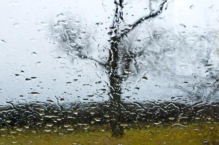 wheather: car window with rain drops Stock Photo