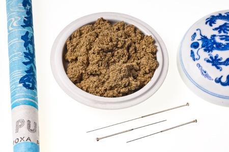 acupuncture needle and moxibustion Stock Photo - 11481687