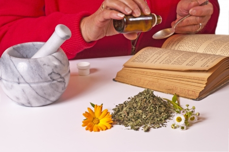 homoeopathic: mortar with herbs and tincture