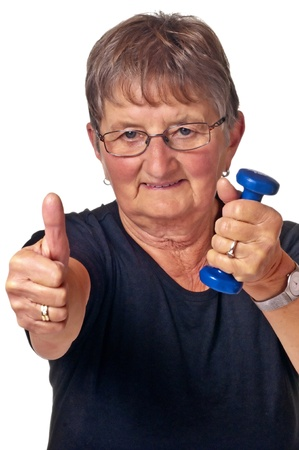 pensioner does bodybuilding Stock Photo