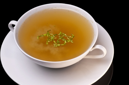broth: chicken broth Stock Photo