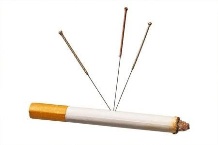 acupuncture to stop smoking Stock Photo